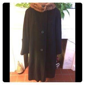 Vintage 60's Black Wool With Mink Collar Coat